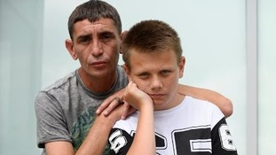 Stephen Pritchard, 37, and son Jake Kelly, 14, who were stranded at Birmingham Airport