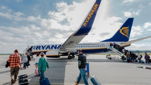 Stock photo of a Ryanair plane