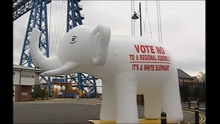 The white elephant became a symbol of the 'No' campaign