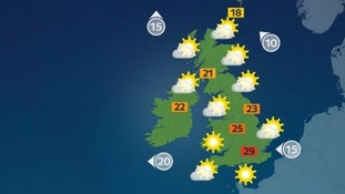 Sunny across the UK but thundery showers expected