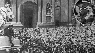 Adolf Hitler in the crowd outside Field Marshals' Hall in Munich as the First World War is announced.