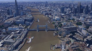 Aerial view looking along the River Thames