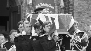 The coffin of Hyde Park bombing victim Lt Anthony Daly leaves Windsor's Holy Trinity Church.