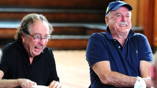 Eric Idle and John Cleese on the first day of rehearsals in London.