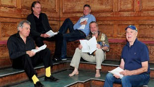 Surviving members of Monty Python rehearsing for their live shows.