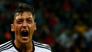 Ozil after scoring Germany's second goal against Algeria.