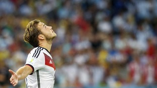 Germany's Mario Gotze celebrates scoring the winning goal.