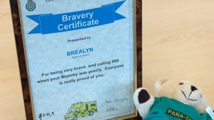 Brealyn was presented with his certificate for bravery at East Midlands Ambulance Headquarters
