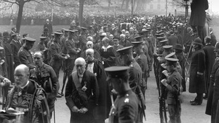 The coffin of the Unknown Warrior being taken to Westminster Abbey on November 11, 1920.