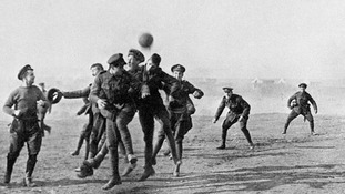 After the 'Christmas Truce' some soldiers still enjoyed a game of football on Christmas Day, like these troops in Greece in 1915.