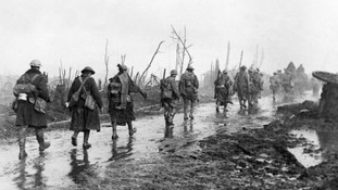 British troops coming out of the trenches at Guillemont, Battle of the Somme.