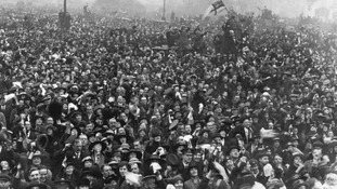 Celebrations outside Buckingham Palace on November 11, 1918, after Armistice is announced, heralding the end of the First World War.
