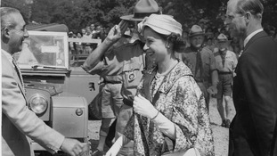 Queen Elizabeth during the World Scout Jubilee Jamboree in 1957
