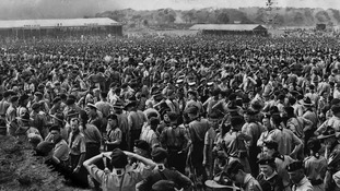 Thousands of scouts at the World Scout Jubilee Jamboree in 1957