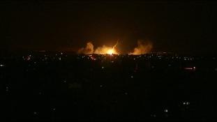 Explosions in Gaza.