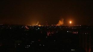 Military flares in Gaza.