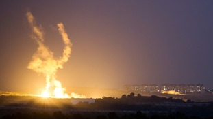 An Israeli rocket is fired into the northern Gaza Strip.