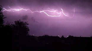 Lightning in Bedfordshire in the early hours of Friday 18 July 2014.