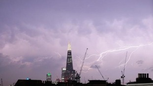 The Shard surrounded by lightning