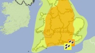 Areas covered by amber and yellow weather warnings for heavy rain on Saturday.