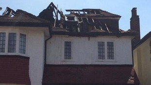 Destroyed roof of the property in Streatham