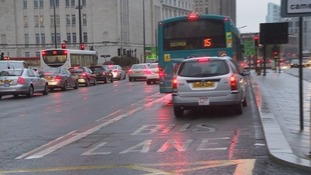 Bus lane in the centre of Liverpool.