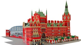 St Pancras made out of lego