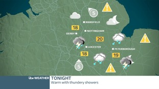 East Midland's weather map for Friday night