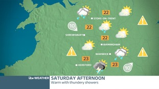 West Midland's weather map for Saturday