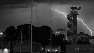 Photo of lightning strike at the quay in Exeter taken last night