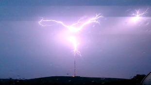 Photo showing spectacular lightning at Carn Brae, Cornwall