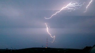 Another photo of the lightning strikes in Carn Brae in Cornwall