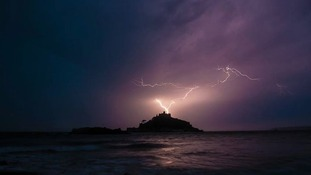 Lightning illuminating the sky at St. Michael's Mount