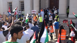 Demonstrators in Luton town centre protesting over the crisis in Gaza.