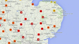 Temperatures in the Anglia region at 3pm.