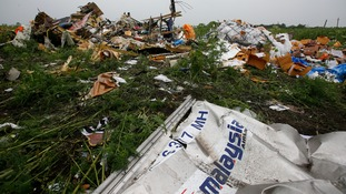Wreckage from the nose section of a Malaysian Airlines