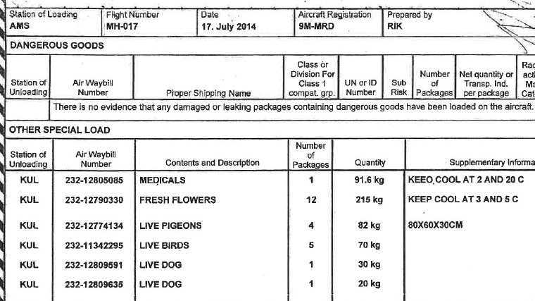 Cargo manifest reveals dogs and birds were on MH17 - ITV News