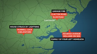 Three properties struck by lightning in Essex.