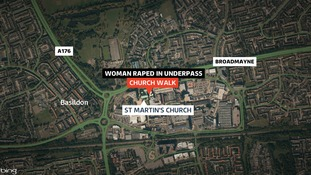 The woman was attacked as she walked through an underpass close to Church Walk and Broadmayne in Basildon.