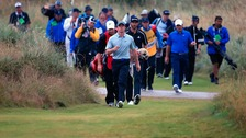 Northern Ireland's Rory McIlroy walks down the 6th during day three of the 2014 Open Championship at Royal Liverpool Golf Club.