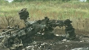 Debris is littered around the crash site.