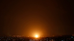 An explosion by an Israeli strike is seen in Gaza City, northern Gaza Strip.