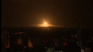 An explosion is seen in Gaza as Israel continued aerial strikes.