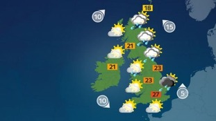 It will be largely sunny with the occasional heavy shower.