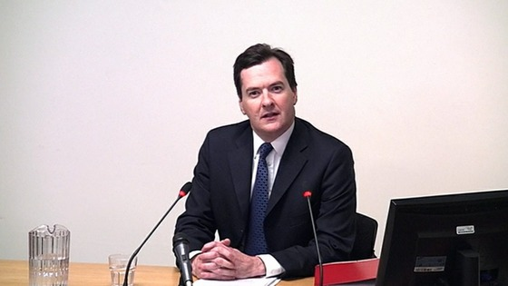 The Chancellor George Osborne giving evidence to the Leveson Inquiry