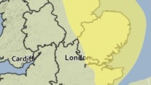 Area affected by the Met Office yellow weather warning for thunderstorms.