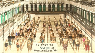 swimmers standing in the empty pool at Moseley Road Baths