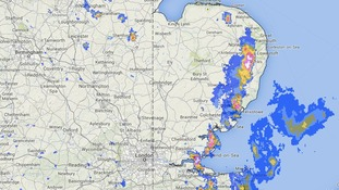 Met Office rainfall radar image taken at 2.15pm showing a line of thunderstorms in east Norfolk, east Suffolk and east Essex.
