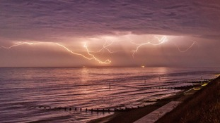 Lightning on Saturday night at Sheringham in Norfolk