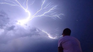 Ross King sitting in the eye of the storm in Essex taken by his friend.